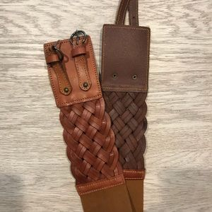 Express Wide Tan Braided Belt Size S/M